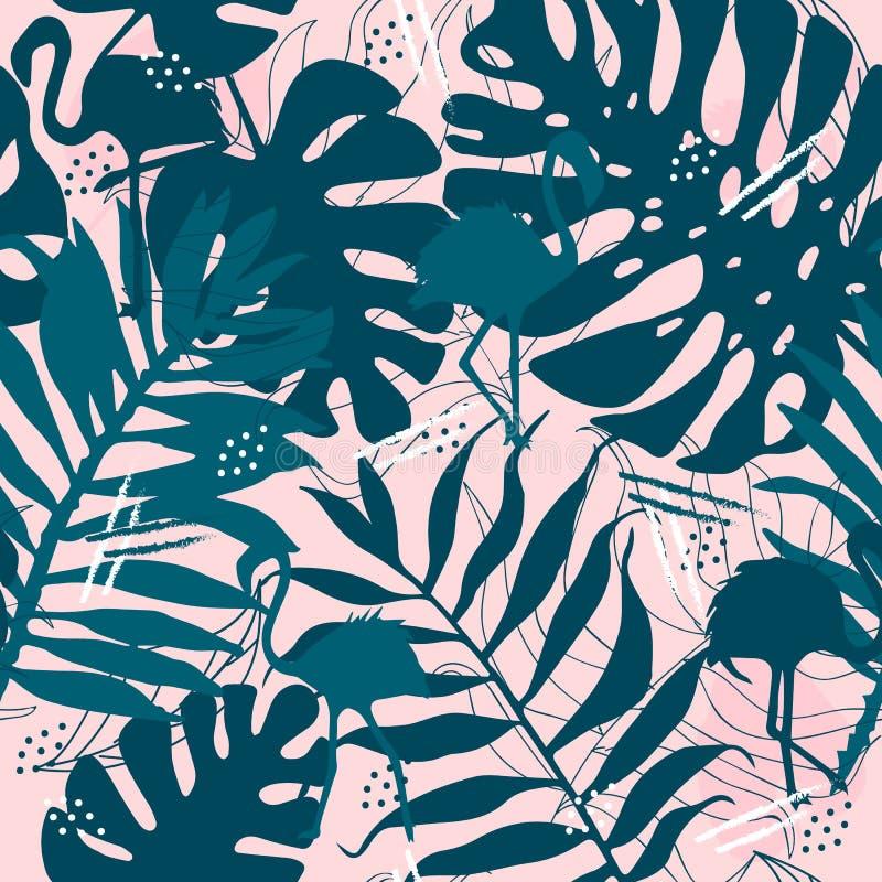 O teste padrão tropical sem emenda com folhas do flamingo imprime para o projeto da tela ilustração royalty free