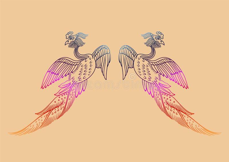 O teste padr?o antigo de Phoenix do chin?s ilustração stock