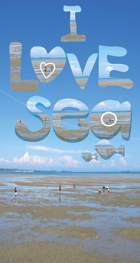 O texto é ` que eu amo o ` do mar ilustração do vetor