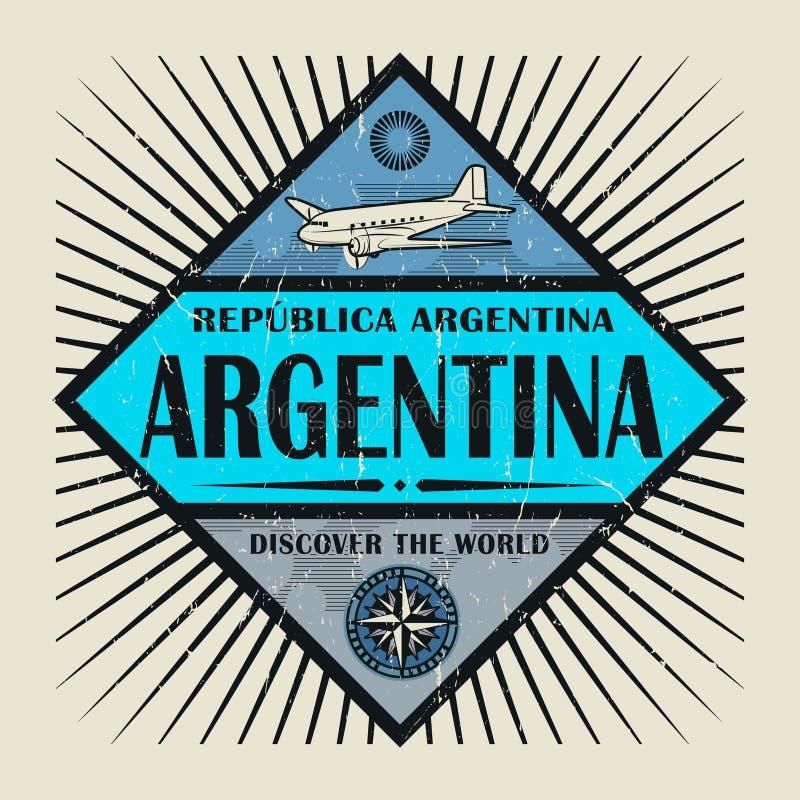 O texto Argentina do emblema do selo ou do vintage, descobre o mundo ilustração stock