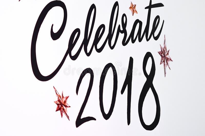 O texto comemora a tração 2018 newyear imagens de stock