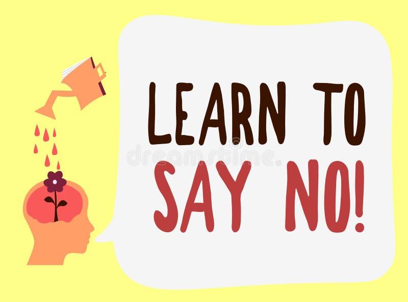 O texto da escrita aprende dizer não O significado do conceito não hesita diz que você não faz nem não quer fazer algo ilustração royalty free