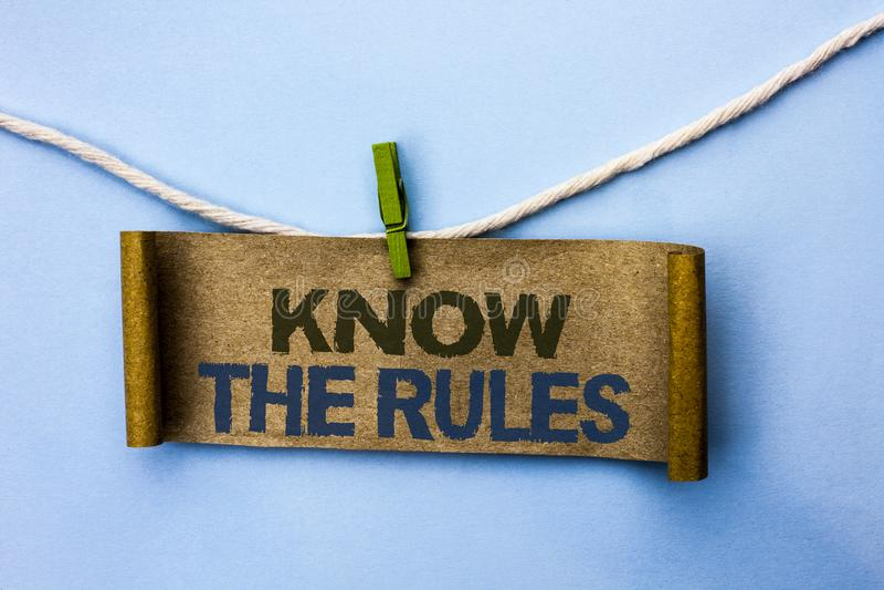O texto da escrita conhece as regras O significado do conceito esteja ciente dos procedimentos dos protocolos dos regulamentos da fotografia de stock royalty free