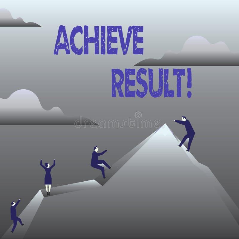 O texto da escrita consegue o resultado O significado do conceito obtém o sucesso que alcança seus objetivos ilustração stock