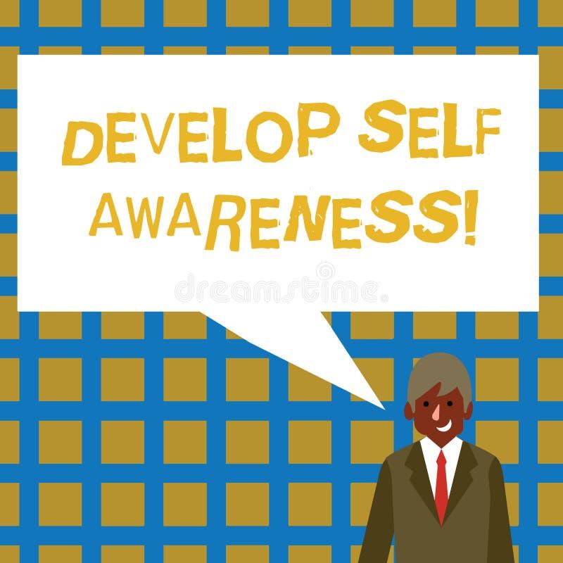O texto da escrita desenvolve a conscientiza??o de auto Significado do conceito o que você o pensa para se transformar para motiv ilustração do vetor