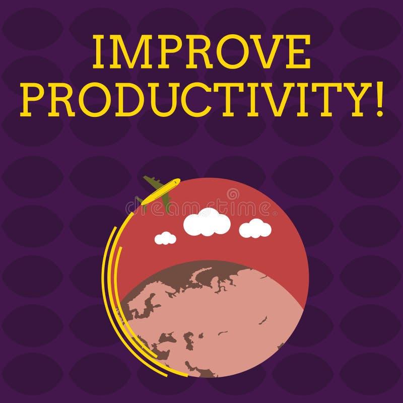 O texto da escrita melhora a produtividade O significado do conceito aumenta a qualidade do tempo entrado e do avião de Perforana ilustração stock