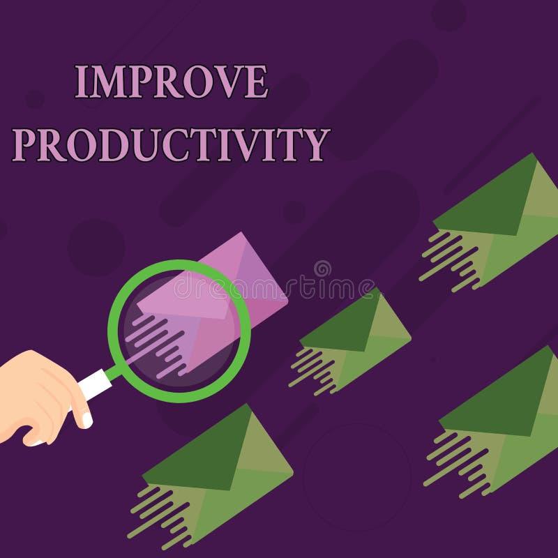 O texto da escrita melhora a produtividade Significado do conceito para aumentar a lupa da eficiência da máquina e do processo ilustração stock