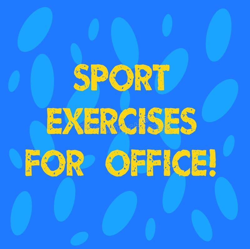 O texto da escrita ostenta exercícios para o escritório O conceito que significa dar certo na estada do local de trabalho coube o ilustração stock