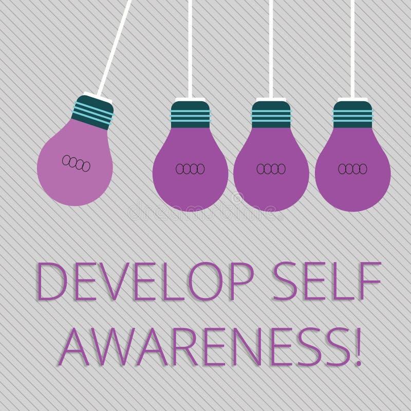 O texto da escrita da palavra desenvolve a conscientização de auto Conceito do negócio para o que você o pensa para se transforma ilustração stock