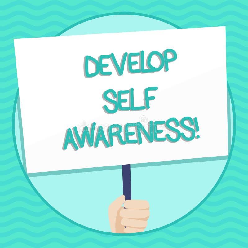 O texto da escrita da palavra desenvolve a conscientização de auto Conceito do negócio para o que você o pensa para se transforma ilustração do vetor
