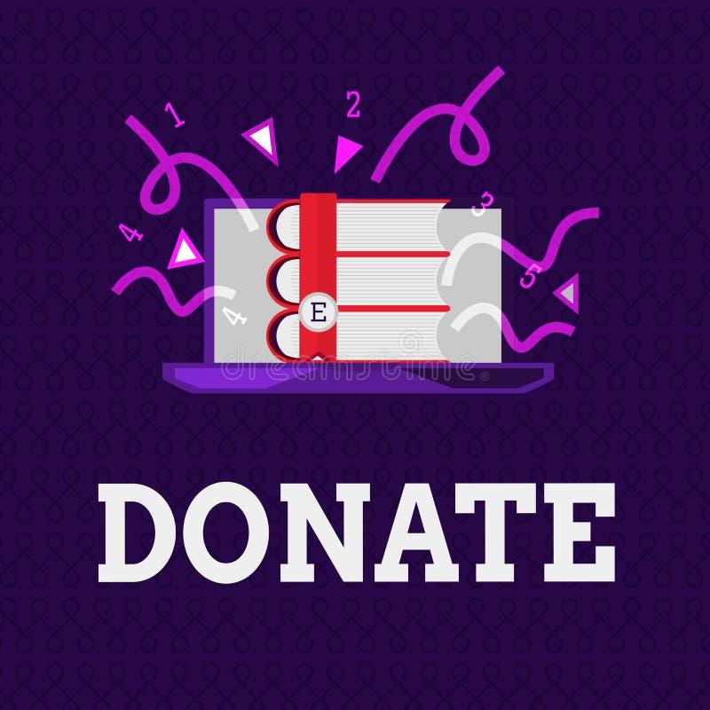 O texto da escrita da palavra doa O conceito do negócio para dá o dinheiro ou os bens para a boa causa por exemplo à caridade ou  ilustração royalty free