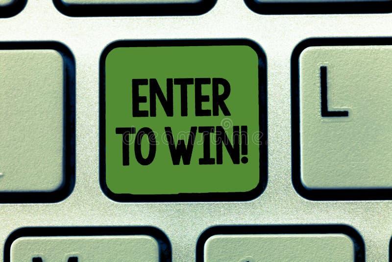 O texto da escrita da palavra entra para ganhar Conceito do negócio para os sorteios que tentam a sorte ganhar a loteria premiada ilustração stock