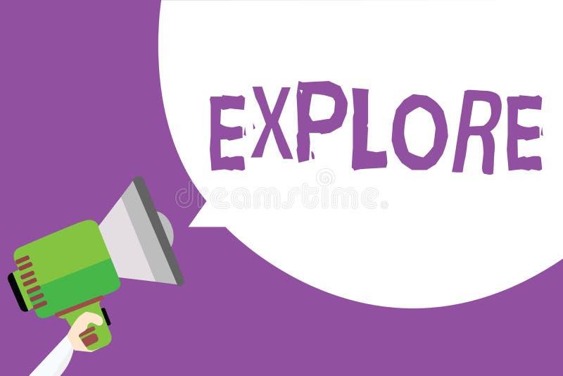 O texto da escrita da palavra explora O conceito do negócio para curso em algum lugar desconhecido a aprender sobre ele examina p ilustração stock