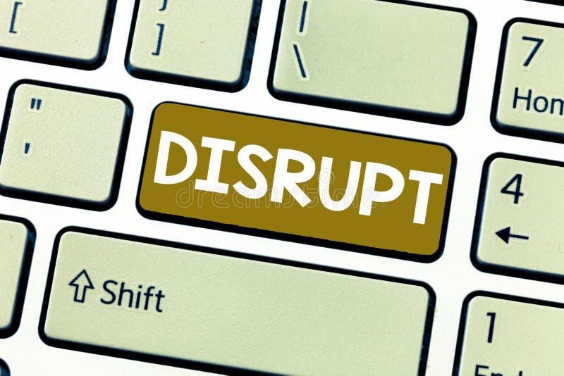 O texto da escrita da palavra interrompe O conceito do negócio para a interrupção que causa o problema do distúrbio faz algo dife imagem de stock