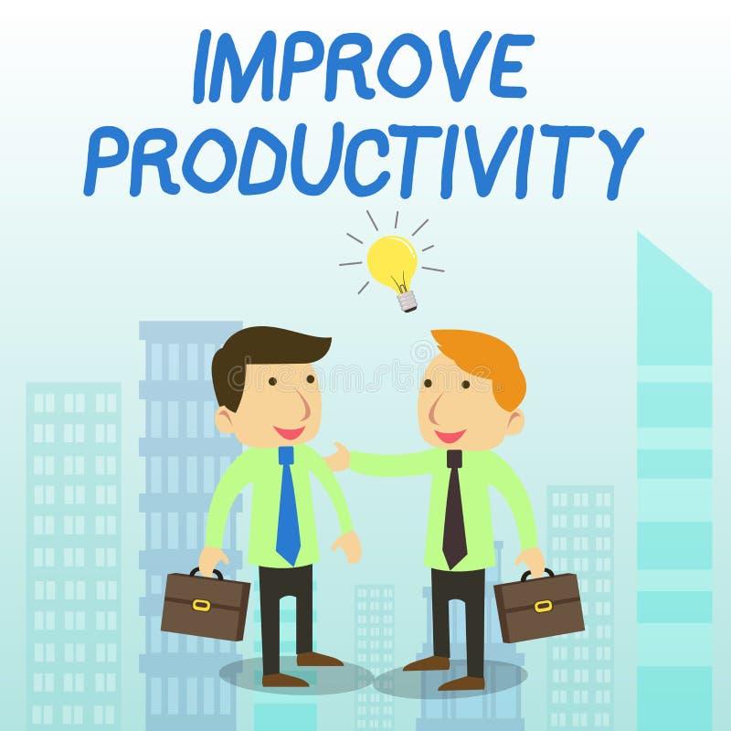O texto da escrita da palavra melhora a produtividade Conceito do negócio para para aumentar a eficiência dois da máquina e do pr ilustração stock