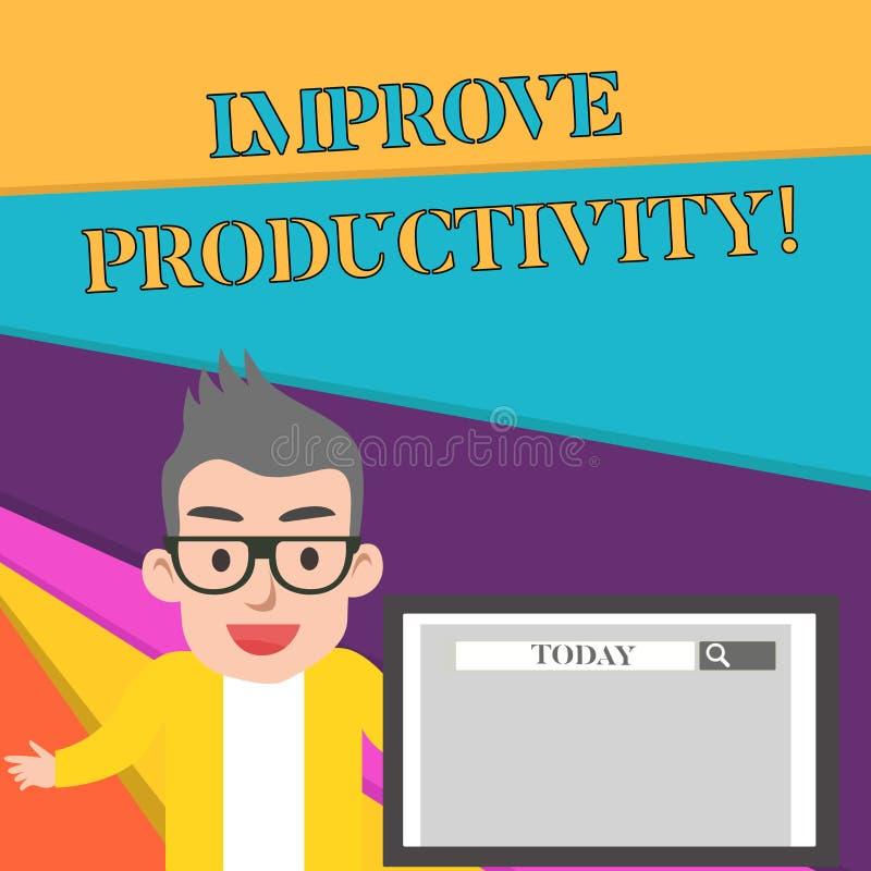 O texto da escrita da palavra melhora a produtividade Conceito do negócio para Enhance a qualidade do tempo entrado e do homem de ilustração do vetor