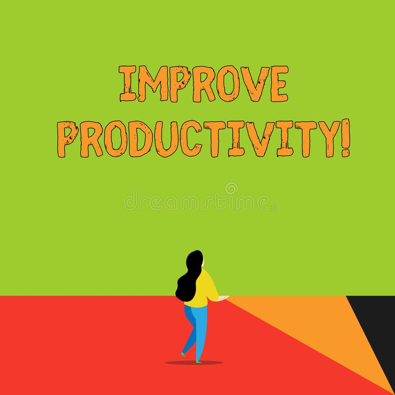 O texto da escrita da palavra melhora a produtividade Conceito do negócio para Enhance a qualidade do tempo entrado e do Perforan ilustração stock
