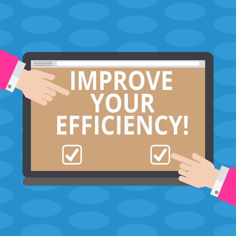 O texto da escrita da palavra melhora sua eficiência Conceito do negócio para a produtividade do aumento ao ainda ganhar o tempo  ilustração do vetor