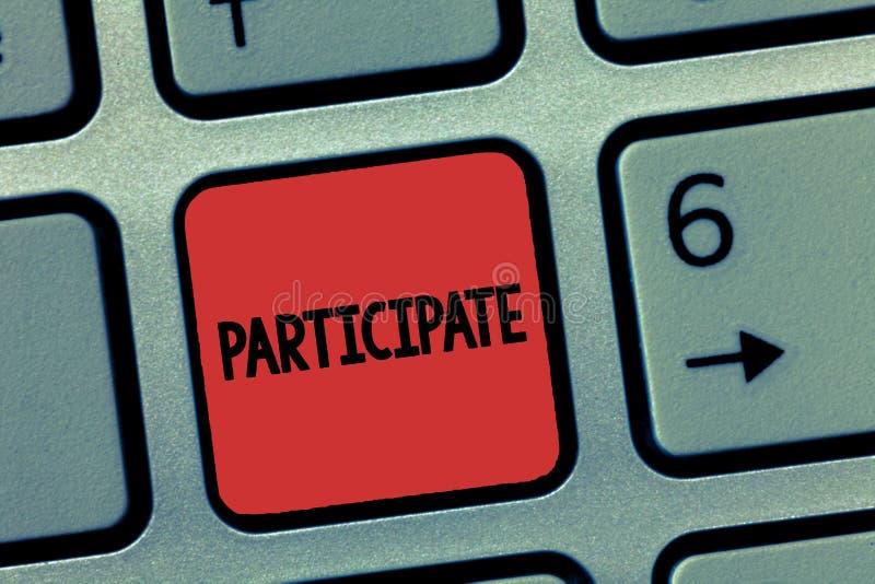 O texto da escrita da palavra participa Conceito do negócio para Take part dentro ou tornado involvido em um voluntário da ativid fotografia de stock royalty free