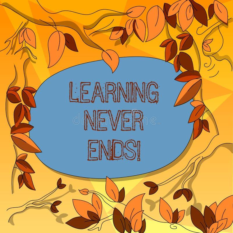 O texto da escrita da palavra que aprende nunca termina O conceito do negócio para o conhecimento não têm nenhuma extremidade ou  ilustração stock