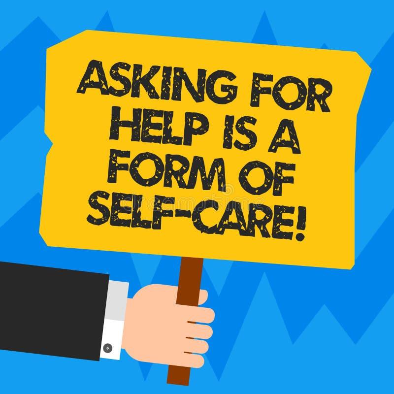 O texto da escrita da palavra que pede a ajuda é um formulário do cuidado do auto O conceito do negócio para esteja aberto pedir  ilustração royalty free