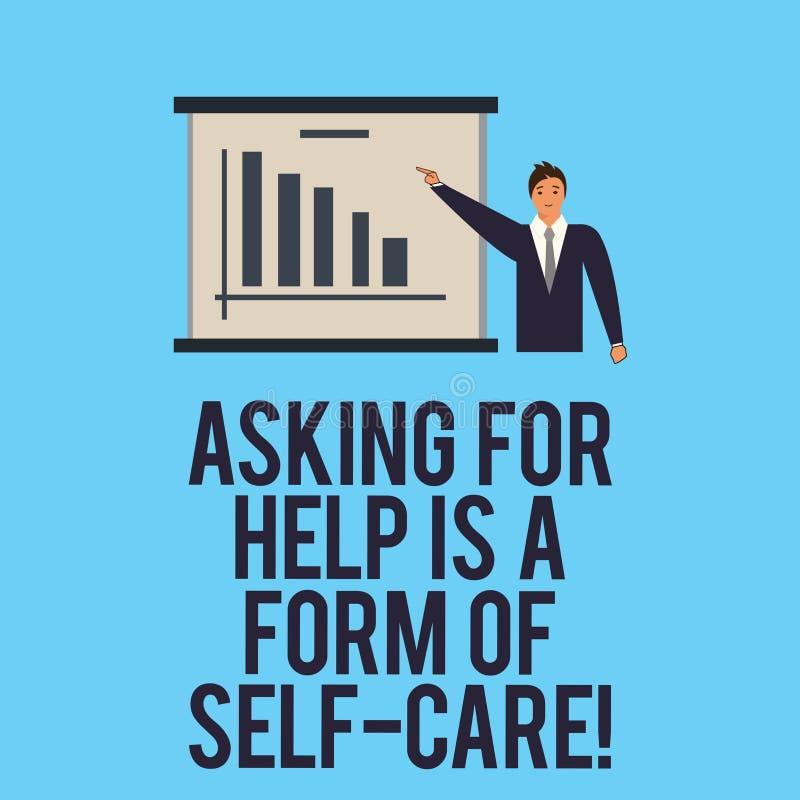 O texto da escrita da palavra que pede a ajuda é um formulário do cuidado do auto O conceito do negócio para esteja aberto pedir  ilustração do vetor