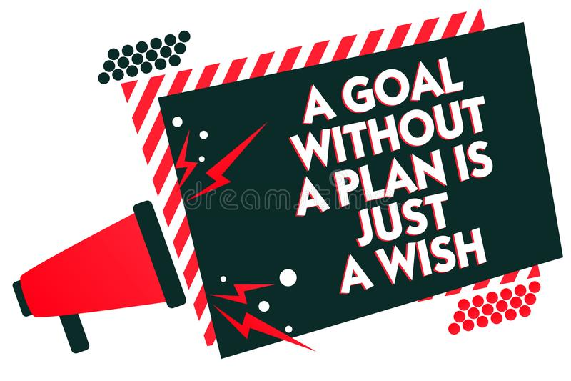 O texto da escrita que escreve um objetivo sem um plano é apenas um desejo O significado do conceito faz estratégias para alcança imagem de stock royalty free