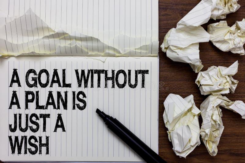 O texto da escrita que escreve um objetivo sem um plano é apenas um desejo O significado do conceito faz estratégias para alcança fotos de stock royalty free
