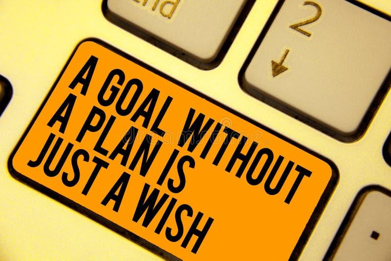O texto da escrita que escreve um objetivo sem um plano é apenas um desejo O significado do conceito faz estratégias para alcança imagens de stock royalty free