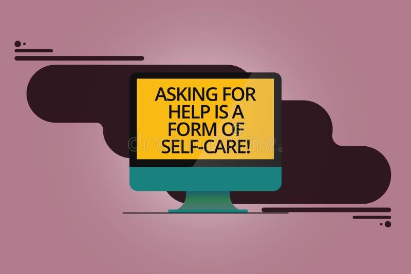 O texto da escrita que pede a ajuda é um formulário do cuidado do auto O significado do conceito esteja aberto pedir o apoio em o ilustração do vetor