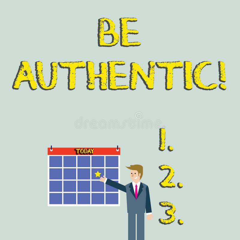 O texto da escrita seja autêntico O significado do conceito faz algo que toma a coragem e ficar verdadeiro você mesmo ao homem de ilustração do vetor