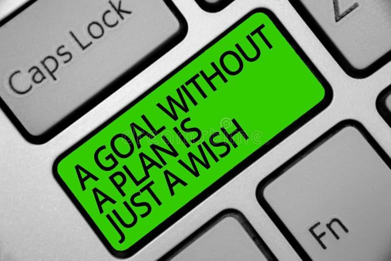 O texto da escrita um objetivo sem um plano é apenas um desejo O significado do conceito faz estratégias para alcançar a chave In imagens de stock