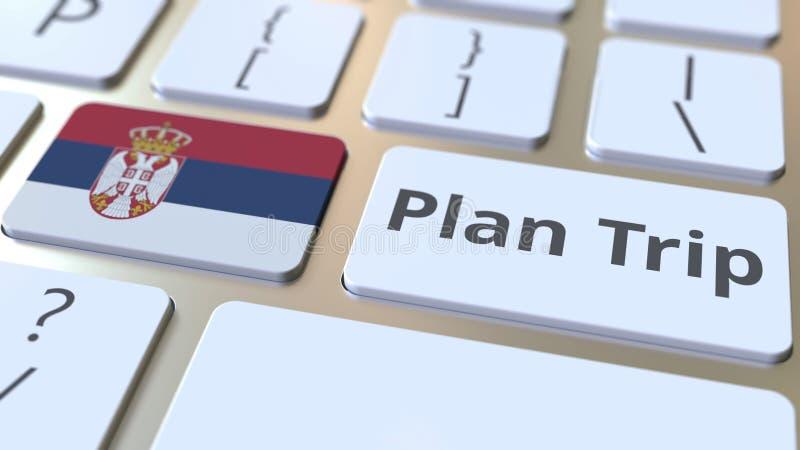 O texto da VIAGEM do PLANO e a bandeira da Sérvia no teclado de computador, curso relacionaram a rendição 3D ilustração royalty free