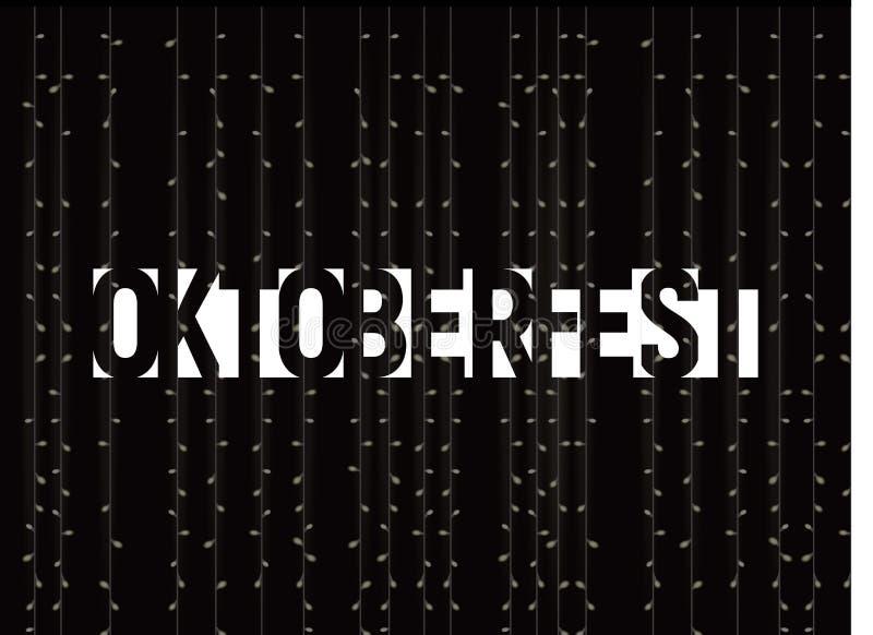 O texto de Oktoberfest no fundo escuro com luzes vector a ilustração Decoração festiva da cerveja Estilo negativo do espaço ilustração royalty free