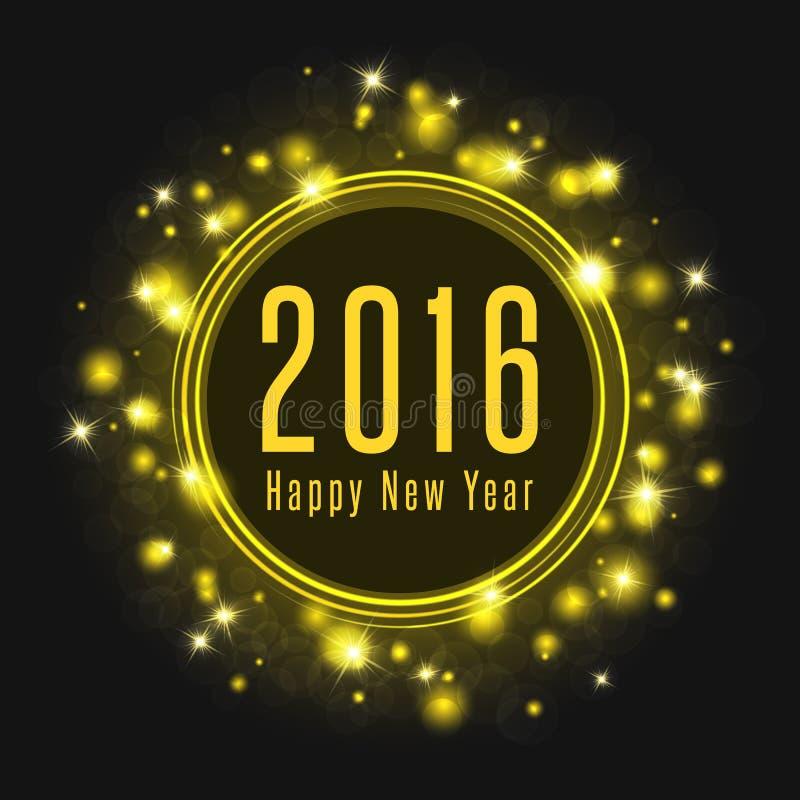 O texto do cartaz 2016 do ano novo feliz, fogos-de-artifício abstratos brilha a luz de incandescência ilustração royalty free