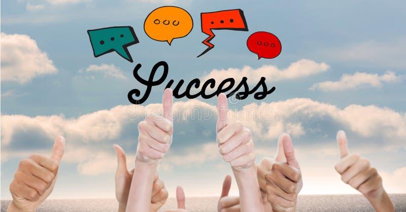 O texto do sucesso com discurso borbulha sobre os polegares acima dos gestos ilustração royalty free
