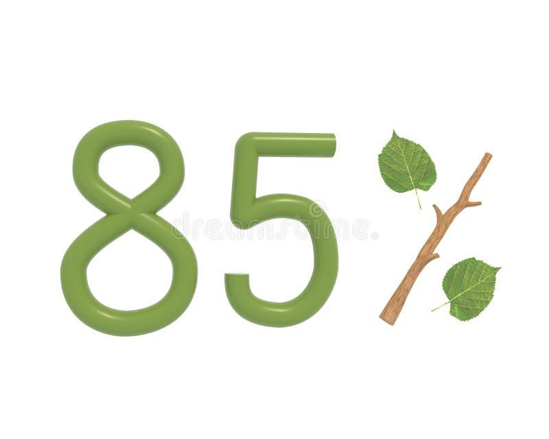 o texto do verde da ilustração 3d projetou com folhas e um ícone dos por cento do ramo da vara isolado no fundo branco ilustração stock