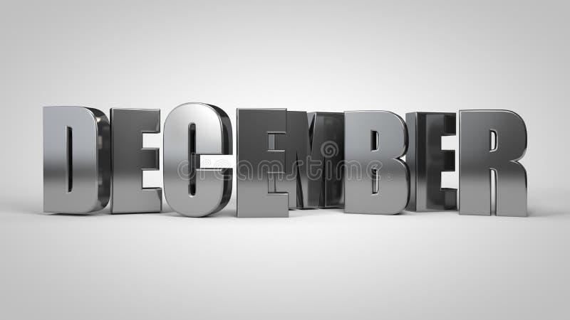 O texto metálico 3d do mês de calendário de dezembro rende ilustração royalty free
