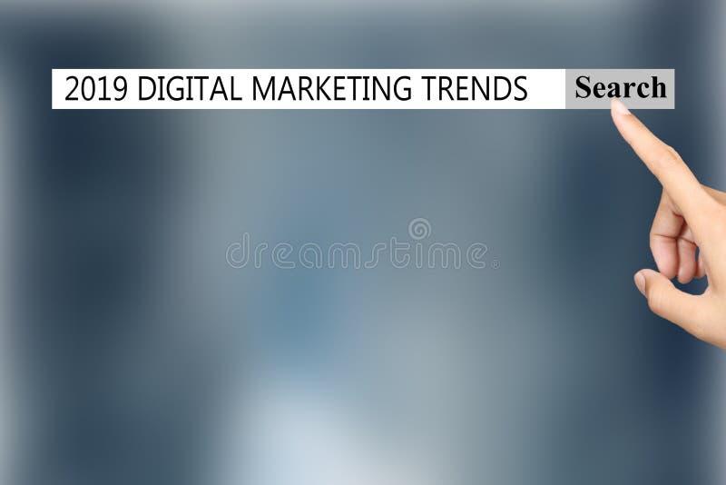 O texto nas TENDÊNCIAS '2019 'de MERCADO de DIGITAL das mostras do navegador ilustração stock