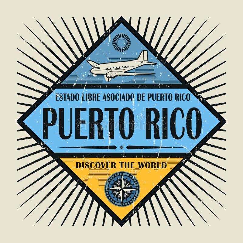 O texto Porto Rico do emblema do selo ou do vintage, descobre o mundo ilustração do vetor