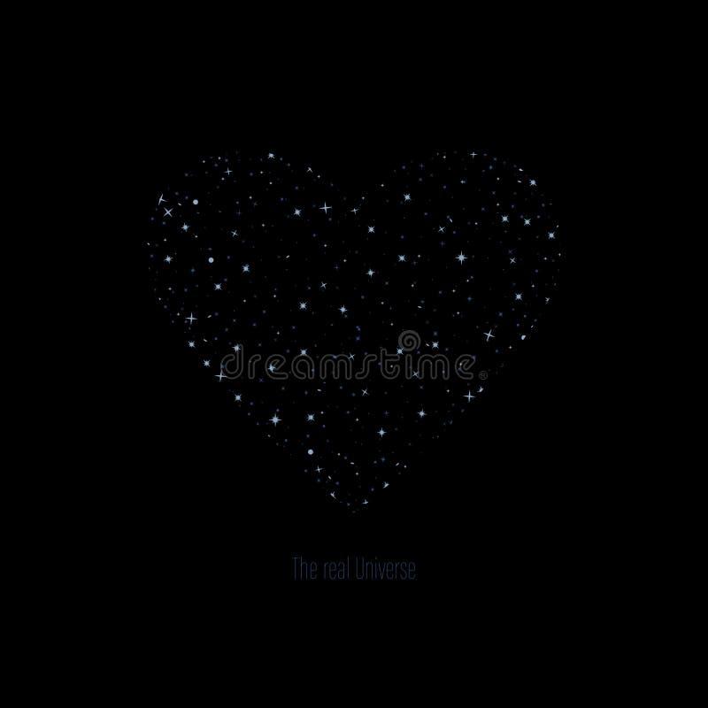 O texto real do universo Conceito do amor forma do coração com as estrelas cinzentas e azuis projeto simples da cópia para a cami ilustração do vetor