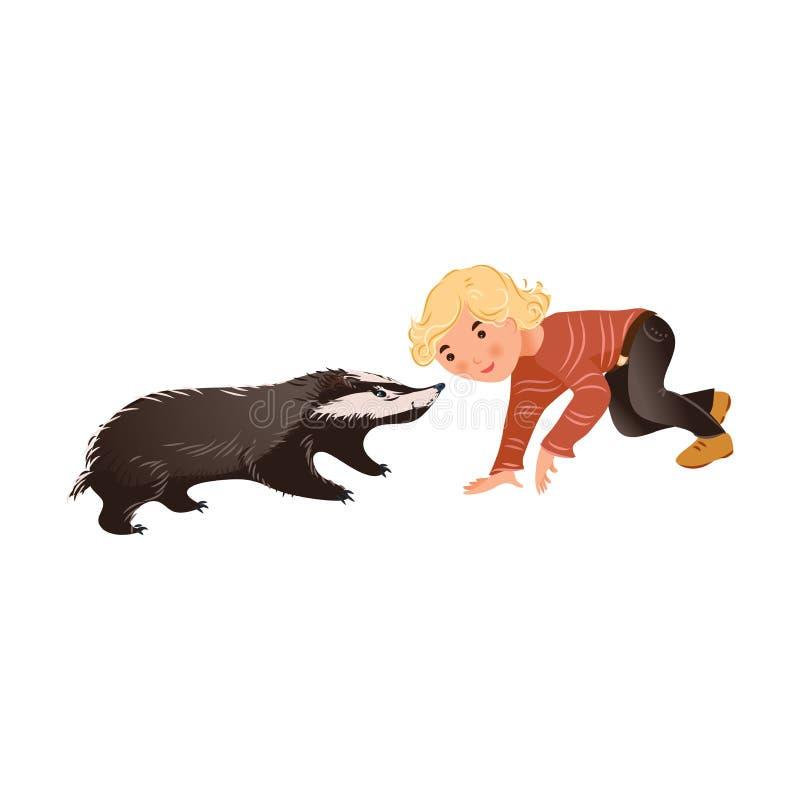 O texugo selvagem bonito da floresta está jogando com o menino do cabelo louro ilustração do vetor
