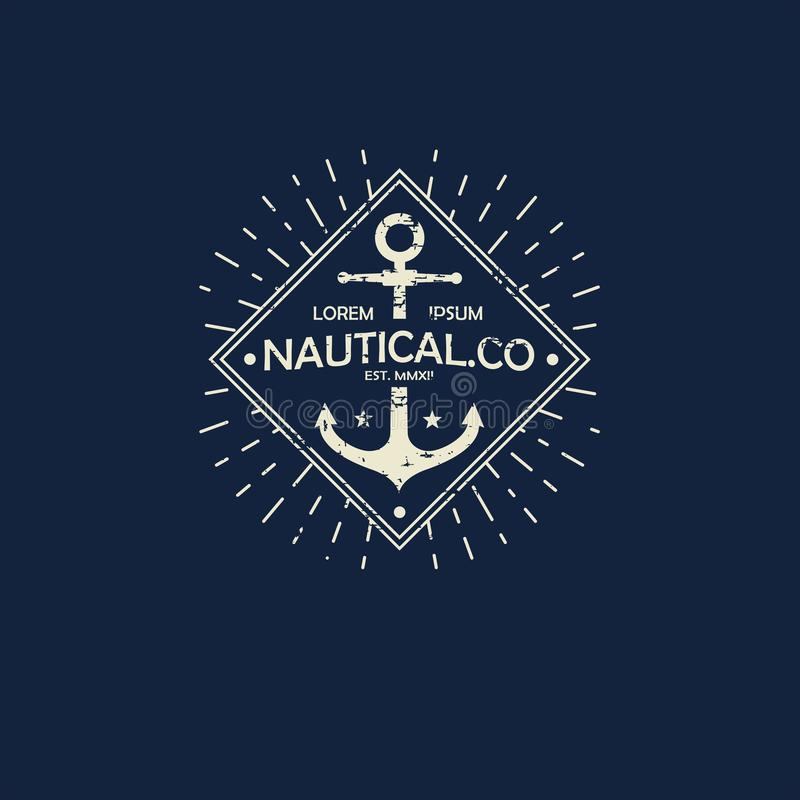 O themplate inspirado do logotipo náutico do estilo, emblema projeta Etiqueta do mar do vintage ilustração royalty free