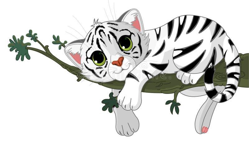 O tigre está em uma filial ilustração stock