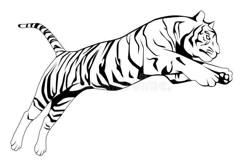 O tigre salta ilustração royalty free