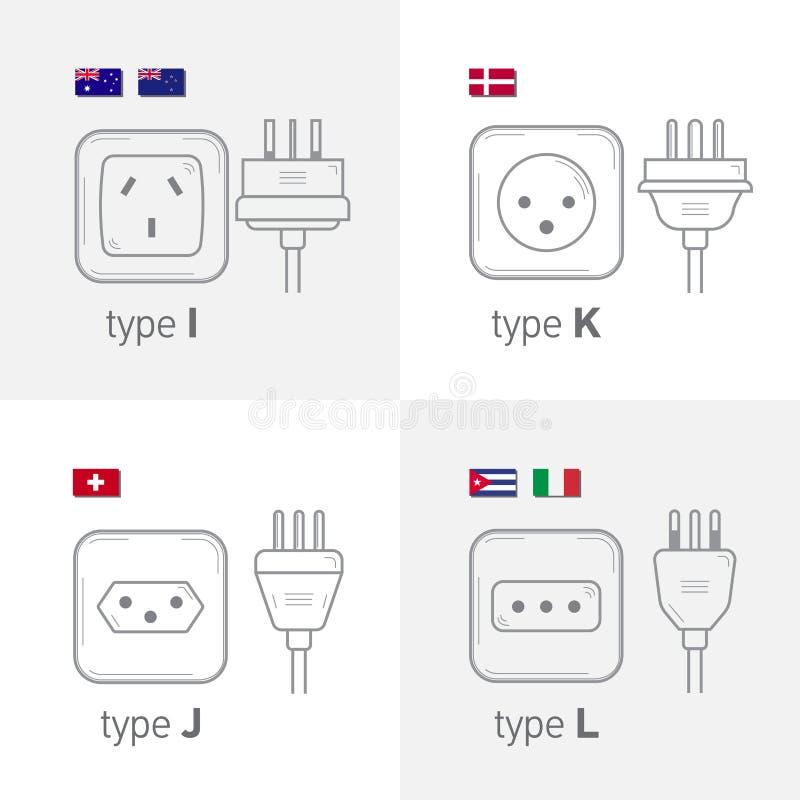 O tipo diferente grupo do soquete de poder, ilustração isolada do ícone para o país diferente obstrui Datilografe IJKL ilustração do vetor