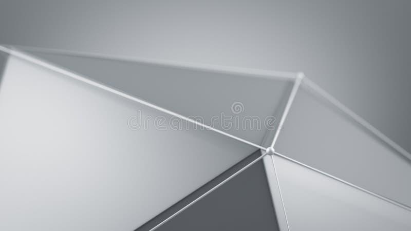 O tiro branco do close up da forma do polígono com foco seletivo 3D rende ilustração stock