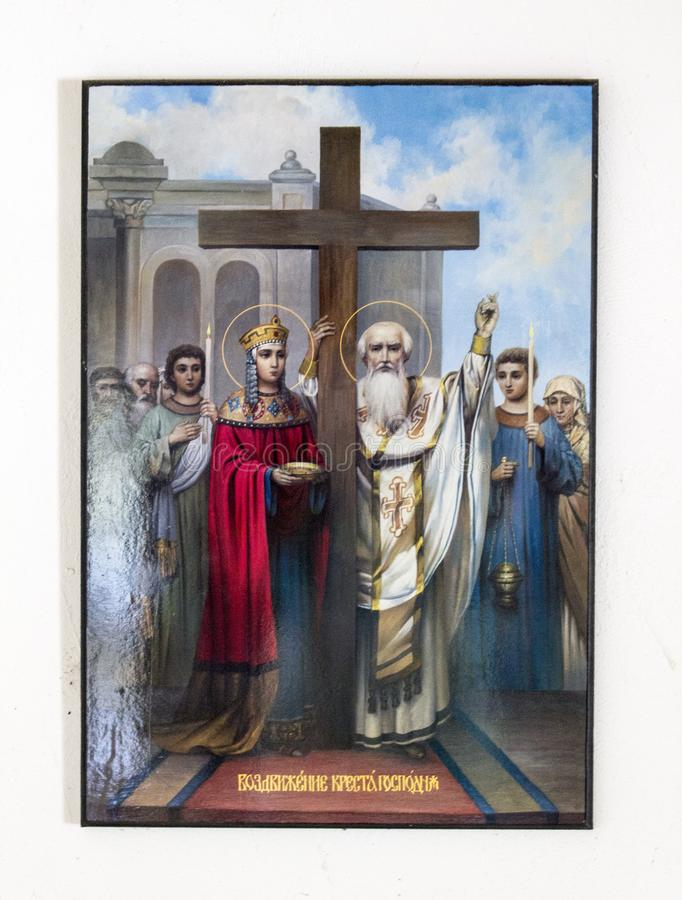 O tiro dianteiro da história cristã ilustrou a imagem santamente na parede imagens de stock