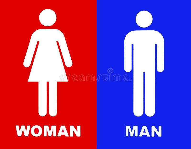 O toalete assina dentro o vermelho e o azul ilustração royalty free