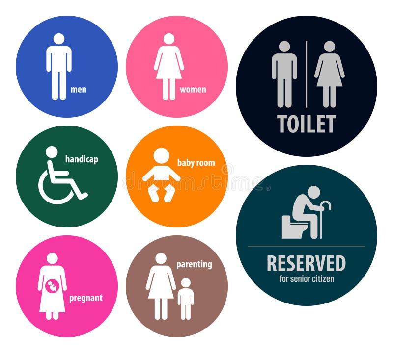 O toalete assina quadros indicadores do toalete ilustração stock